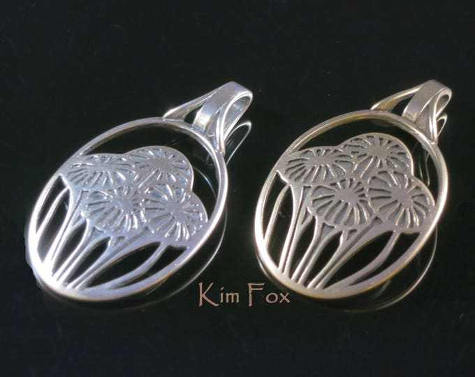 KFP23 Oval Pendant in Silver or Golden Bronze symbolizing love with a bouquet of flowers Victorian Era Craftsman Wall Paper by Kim Fox