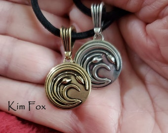 Small Asian Wind Pendant - symbol of endurance - designed by Kim Fox in Silver and Bronze