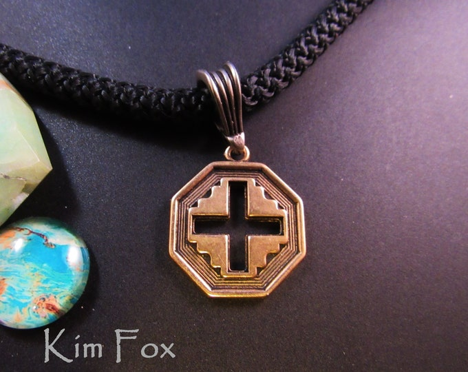 Petite Well Balanced Cross in Golden Bronze designed by Kim Fox