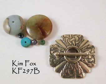 Larger Scalloped Shape 4 strand with Brocade Pattern in Silver  or Bronze by Kim Fox