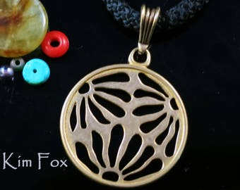KFP372 Round Three Flower Asian Style Pendant of pierced flower pattern designed by Kim Fox in Bronze
