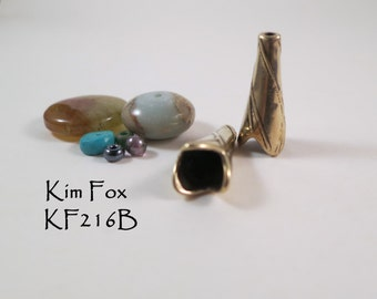 KF216 A pair of Twigs Cone pair in Golden Bronze and Sterling Silver suitable for kumihimo, bead crochet and multistrands  by Kim Fox