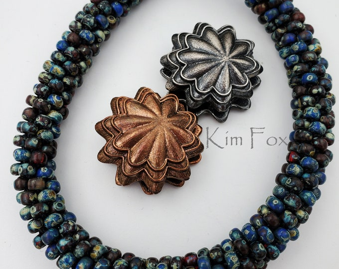 KF291 Scallop Magnetic Clasp with 3 loops suitable for kumihimo, bead crochet, bead weaving, designed by Kim Fox in bronze and silver