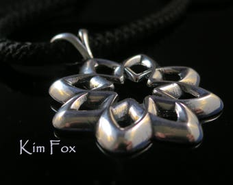 Desert Flower Pendant in Silver or Bronze Two sided pendant  8 petals with open cut layout - abstract flower rounded with openings