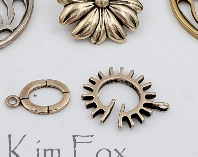 C151 Sun Style slot clasp in RED BRONZE  for necklace or bracelet by Kim Fox - unisex