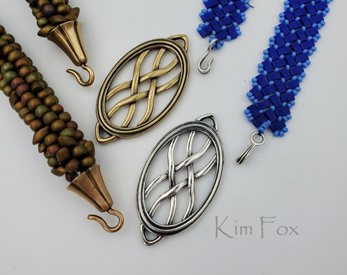 KF412 Oval Woven Element can be used as clasp, pendant, earring, station in bronze and silver two sided by Kim Fox