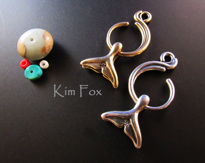 KF374 Wave and Whale Tail Clasp - Two Sided - Designed by Kim Fox in Bronze and Sterling Silver