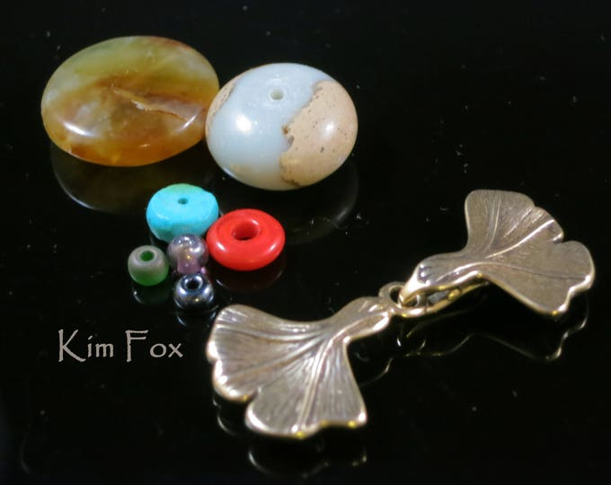 KF230 Hook and Eye Clasp with Gingko Leaf Design in Golden Bronze by Kim Fox Graceful and elegant
