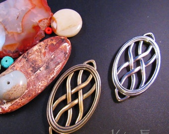 Oval Woven Element can be used as clasp, pendant, earring, station in bronze and silver two sided by Kim Fox