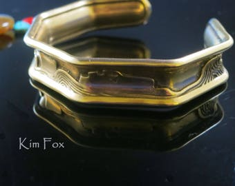 Canyonlands Octagonal Cuff in Sterling Silver and Golden Bronze designed by Kim Fox - stackable