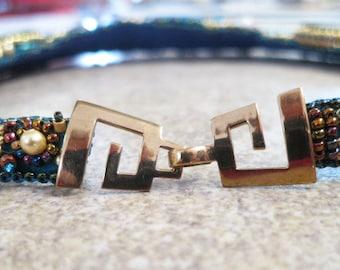 KF258 Greek Key Hook and Eye Clasp for single or multi- strand jewelry designed by Kim Fox