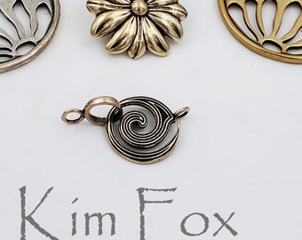 KF312 Small Spiral Clasp RED BRONZE  for necklace or bracelet with 2 sided pattern- doesn't matter if it turns over - by Kim Fox in Bronze