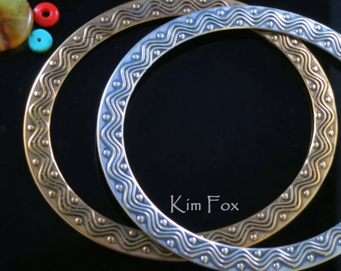 KFB24 8 inch Wave and Dot Bangle Oval Bangle in Golden Bronze designed by Kim Fox - stackable