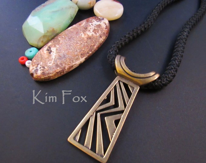 KFP49 Higher Ground Pendant tabular pendant in Silver or Bronze designed by Kim Fox