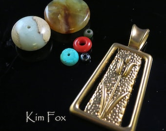 Tulip Pendant symbol of spring and rebirth with large bail in Golden Bronze designed by Kim Fox 1 3/4 by one inch in size