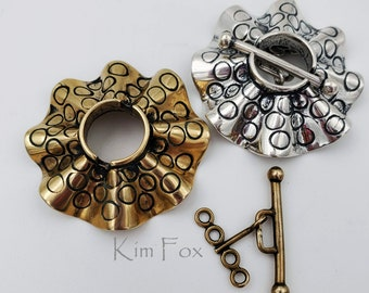 Larger Round Silver or Bronze Secure Toggle with 4 loops in Silver with Sea Urchin Pattern by Kim Fox