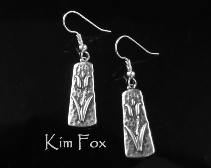 KFE348 Tulip Earrings in Sterling Silver and Golden Bronze designed by Kim Fox