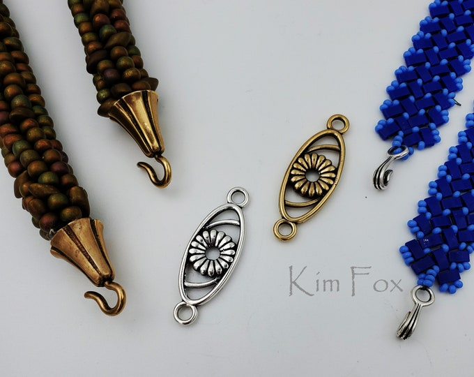 KF397  Rosette open oval Swirl- use for earrings, clasps, links, stations in Sterling Silver or Golden Bronze by Kim Fox