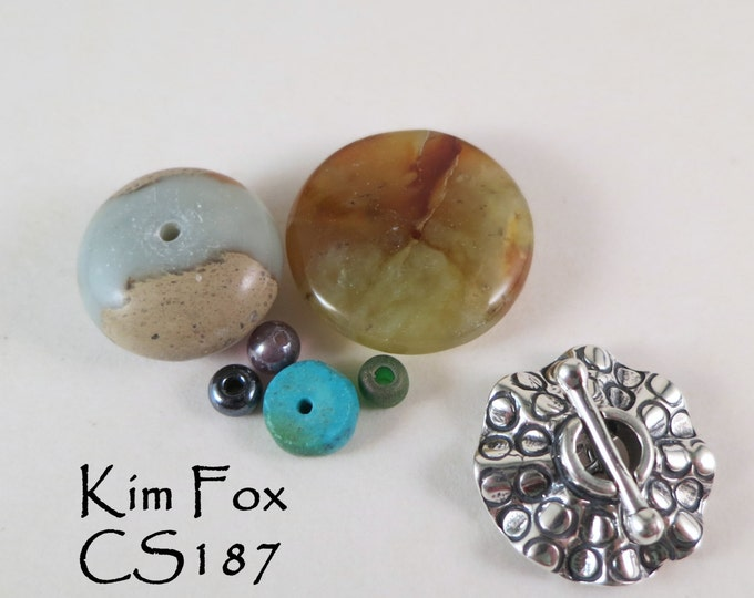 C187 Small RoundToggle single strand in Sterling Silver or Golden Bronze with Sea Urchin Pattern By Kim Fox