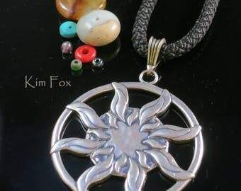 Large Sun Dance Pendant - round 1 7/8 inch two sided pendant with large bail in silver by Kim Fox