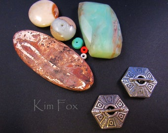 KF 256 Hexagonal - 6 sided small silver or bronze toggle - Easy and Secure to use - Ancient Treasure - Single Strand - by Kim Fox