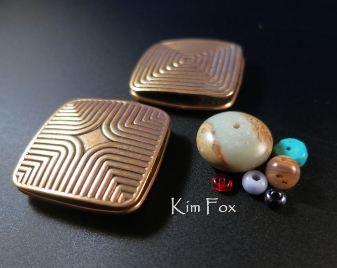 Featured listing image: In the Groove Two Sided Rectangular Three Strand Magnetic Clasp in Patinaed Golden Bronze by Kim Fox