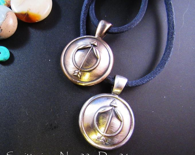 KFP 175 Round One Inch Sagittarius Pendant - Nov 22 Dec 21- in Solid Golden Bronze or Sterling Silver by Kim Fox