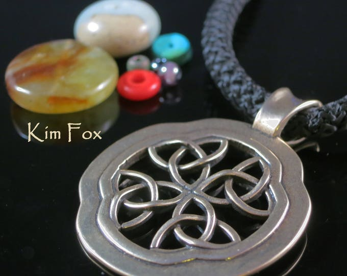 KF359 Celtic Window Pendant in Bronze or Silver designed by Kim Fox Perfect for layering