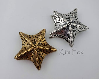 KF196 Starfish magnetic clasp in sterling silver or golden bronze with 3 loops for attachment designed by Kim Fox