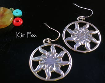 Sun Dance Sterling Silver  Earrings 1 1/2 inch by 1 1/4 inch - light weight - two sided solar earrings by Kim Fox