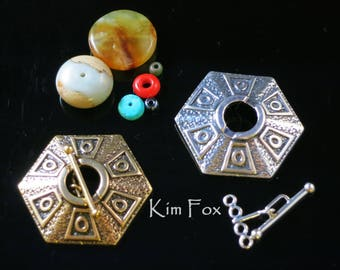 Six-Sided Hexagon 4 stranded Toggle Clasp in Sterling Silver or Bronze by Kim