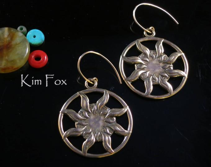 KFE334 Sun Dance Bronze Earrings 1 1/2 inch by 1 1/4 inch - light weight - two sided solar earrings by Kim Fox