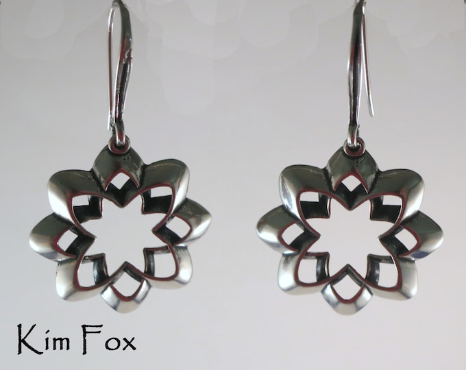 Desert Flower Scalloped Origami Style Earrings in silver with silver wires by Kim Fox