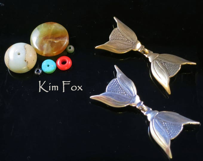 KF201 Deco Bloom - Art Deco Style hook and eye clasp with 3 loops for connection in sterling silver and bronze by Kim Fox