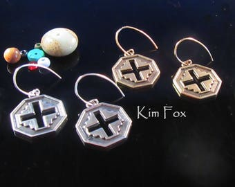 Well Balanced Cross Earrings in Sterling Silver or Golden Bronze - pierced cross in 8 sided pendant - designed by Kim Fox