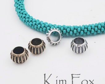 Pair of Melon Shaped Big Hole Beads in Silver and Bronze designed by Kim Fox