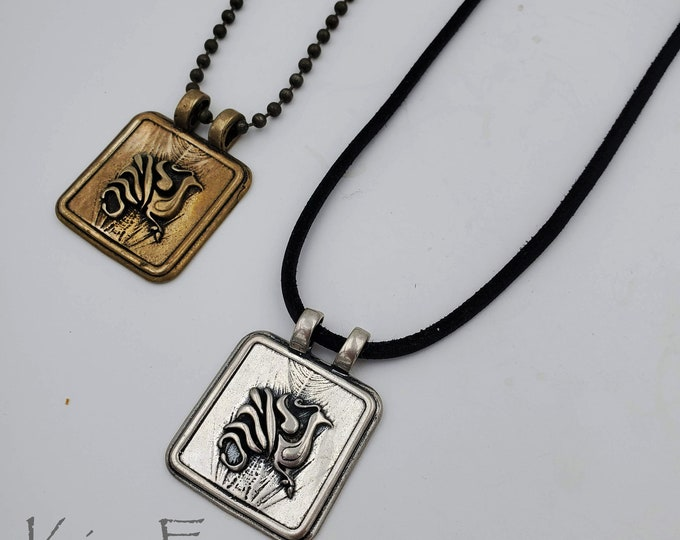Phoenix Rising Pendant in bronze & sterling silver- rectangular with double bail - Chinese Phoenix symbolizes female strength - by Kim Fox