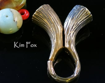 Magnetic Clasp/Cone/Bail Combination by Kim Fox in Golden and White Bronze with Bark Texture