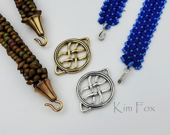 Round Woven Element can be used as clasp, pendant, earring, station in bronze and silver two sided by Kim Fox