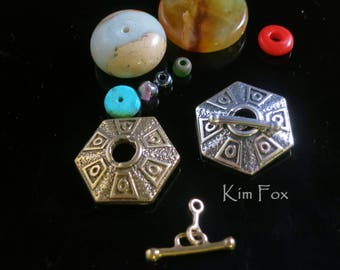 Hexagonal - 6 sided small silver or bronze toggle - Easy and Secure to use - Ancient Treasure - Single Strand - by Kim Fox
