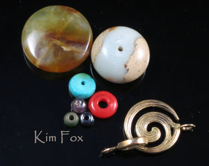 KF 312 Small Fire Spiral Clasp for necklace or bracelet with 2 sided pattern Bronze  or Sterling silver- by Kim Fox in Bronze