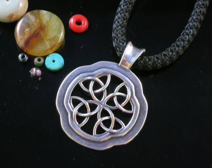 KFP359 Celtic Window Pendant in Sterling Silver and Bronze designed by Kim Fox Stack and Layer with another necklace