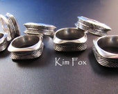 Dreamcatcher rounded square ring in sterling silver - sizes 7 to 13 designed by Kim Fox