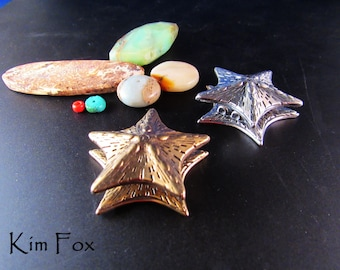 Starfish Magnetic Clasp with 3 loops - designed by Kim Fox in Sterling Silver and Golden Bronze