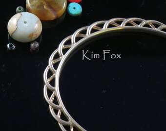 8 inch Celtic Ribbon Oval Bangle -  in Silver and Bronze - Designed by Kim Fox
