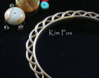 KFB32 8 inch Celtic Ribbon Oval Bangle -  in Silver and Bronze - Designed by Kim Fox