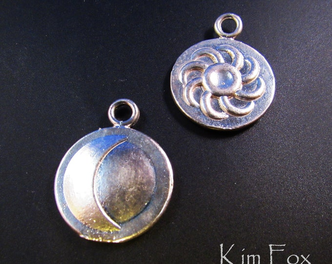 Larger Sun and Moon Charms - perfect for pendant - two sided - designed by Kim Fox - closout