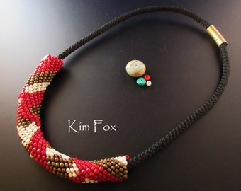 Black Braided Necklace with Removable Peyote with a Twist Slide Design - created by Kim Fox