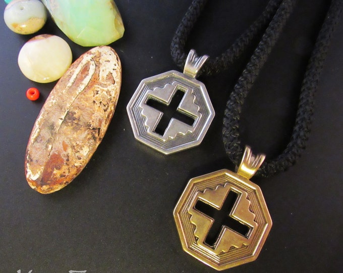 KFP280 Well Balanced Cross in  Silver and Bronze- A blend of east and west and southwest for the handsome cross - unisex