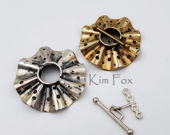 C 185 Round Silver or Bronze Toggle with 4 loops in Silver with Polka Dot Pattern by Kim Fox